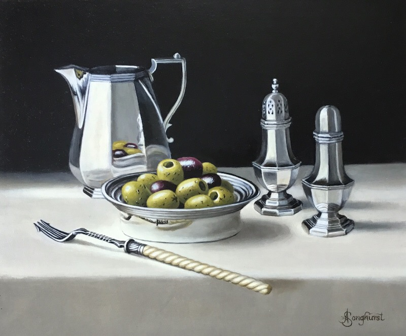 Silver Jug with Olives by Anne Songhurst