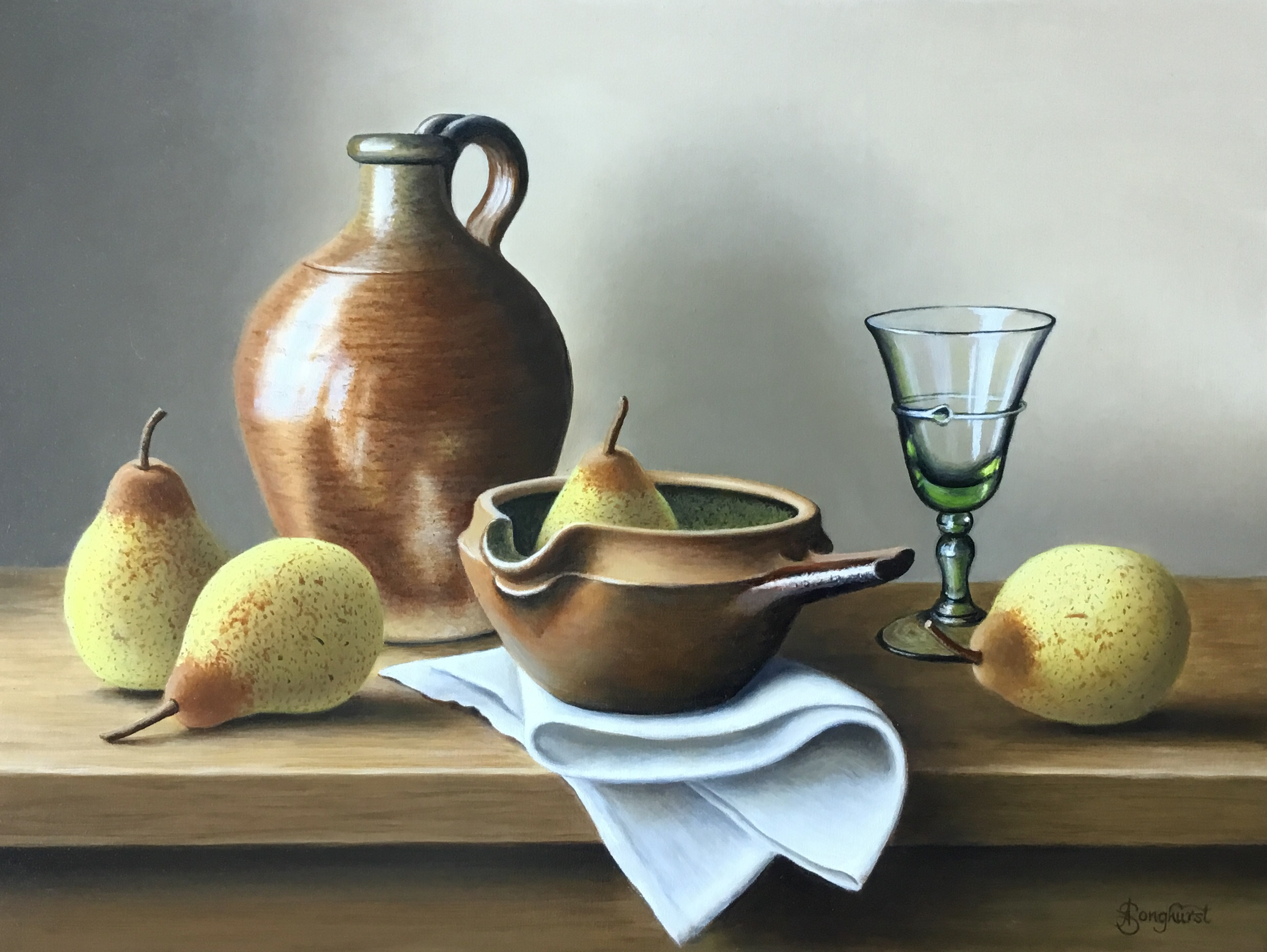 Stoneware Flagon with Pears by Anne Songhurst