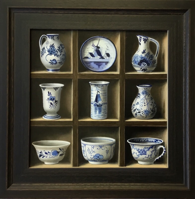 trompe-l'oeil-painting-cabinet-miniature-blue-and-white delftware-bowls-cup-jugs-and-plate