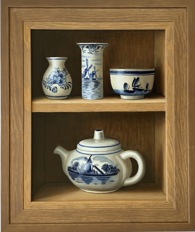 trompe-l'oeil-oil-painting-wooden-cabinet-blue-and white-delftware-teapot-bowl-and-vases