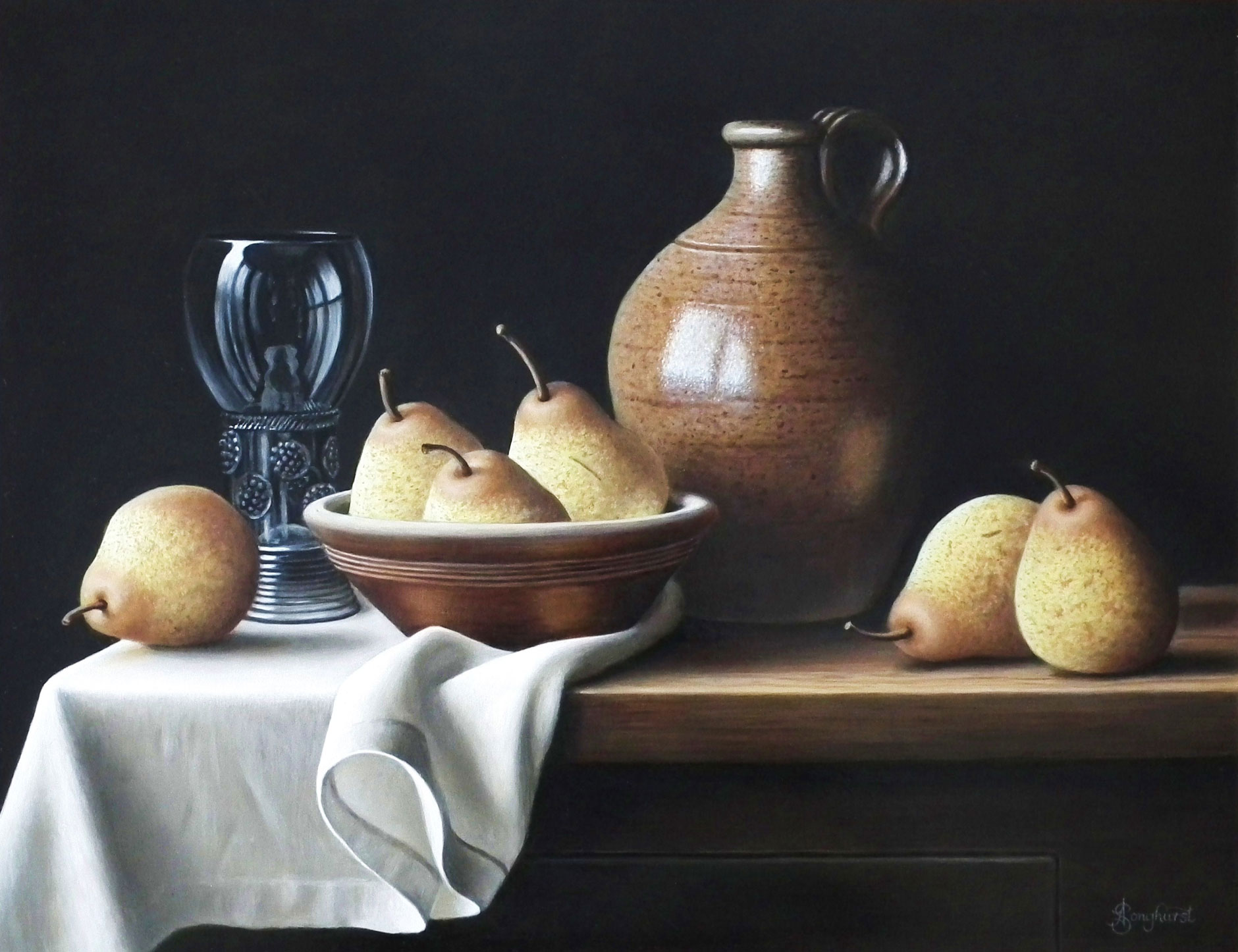 Cider Flagon with Pears by Anne Songhurst. Stoneware Vessels from John Leach Pottery