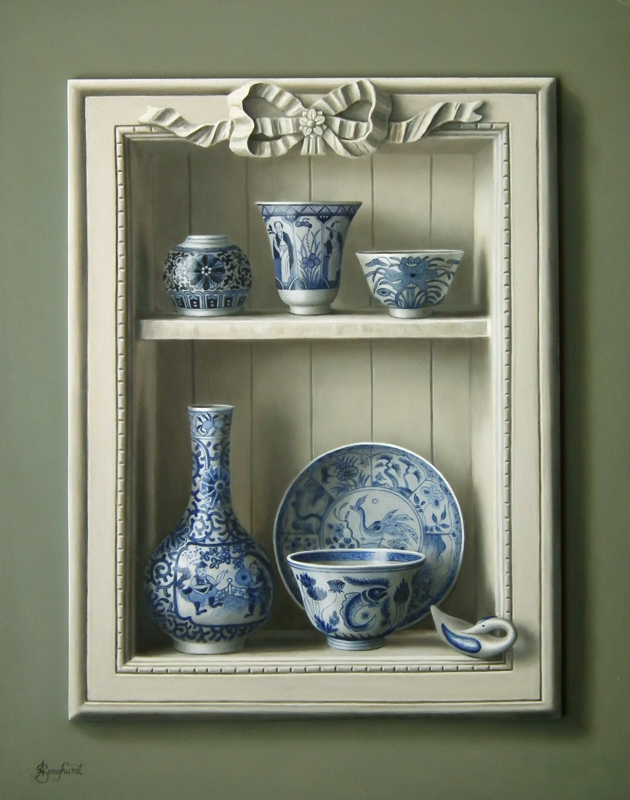 white-cabinet-with-chinese-porcelain-bowls-bottle-plate-potand-