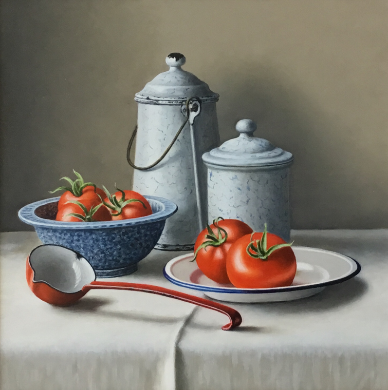 Enamelware with Tomatoes 12x12 oil painting by Anne Songhurst