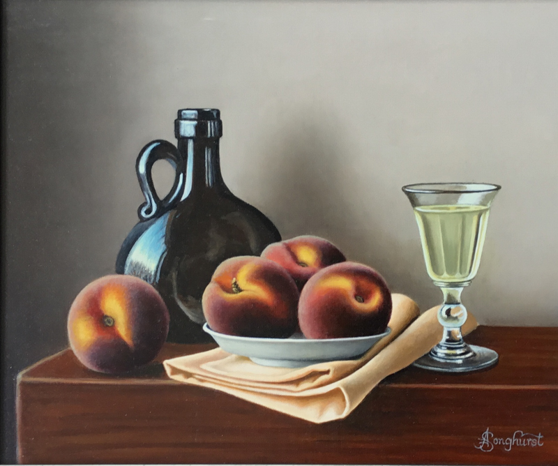 Peaches and White Wine 10x12 oil painting by Anne Songhurst