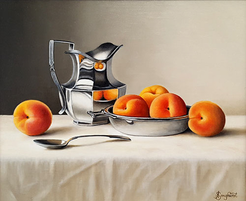 Silver Jug with Apricots by Anne Songhurst