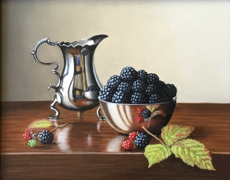 Silver Tankard with Blackberries 8x10 oil painting by Anne Songhurst