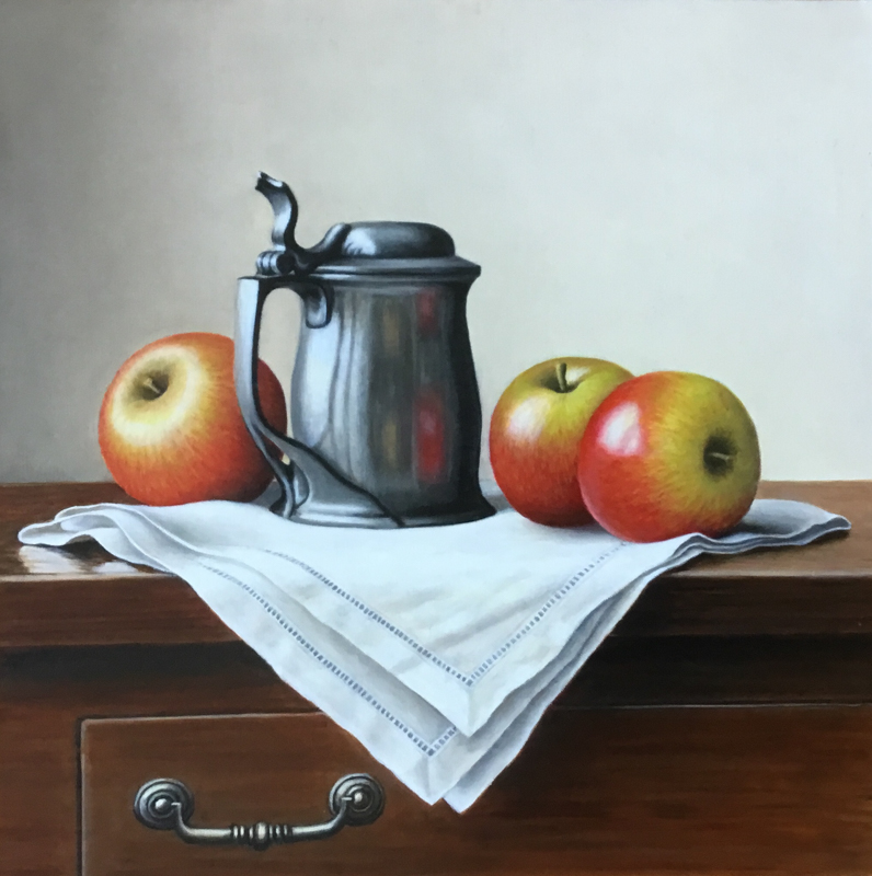 Tudric Tankard with Apples12x12  by Anne Songhurst