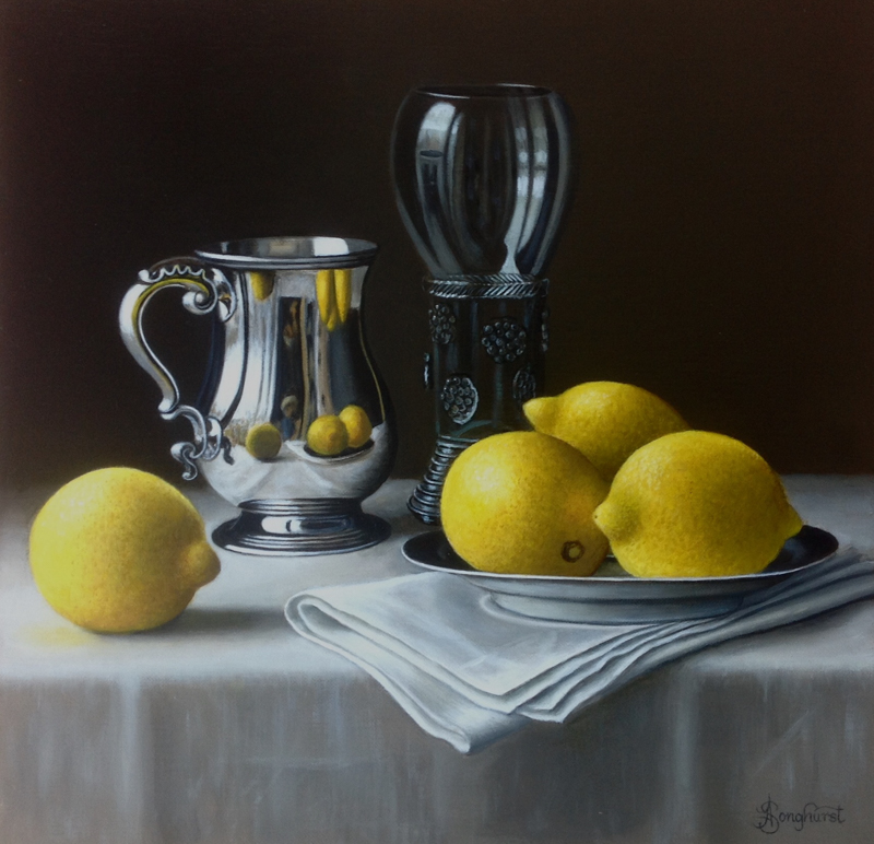 Silver Tankard with Lemons 12x12 still life painting by Anne Songhurst