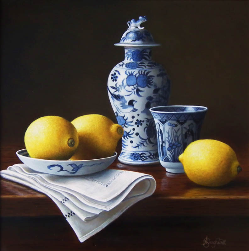 Chinese Porcelain with Lemons 12x12 by Anne Songhurst