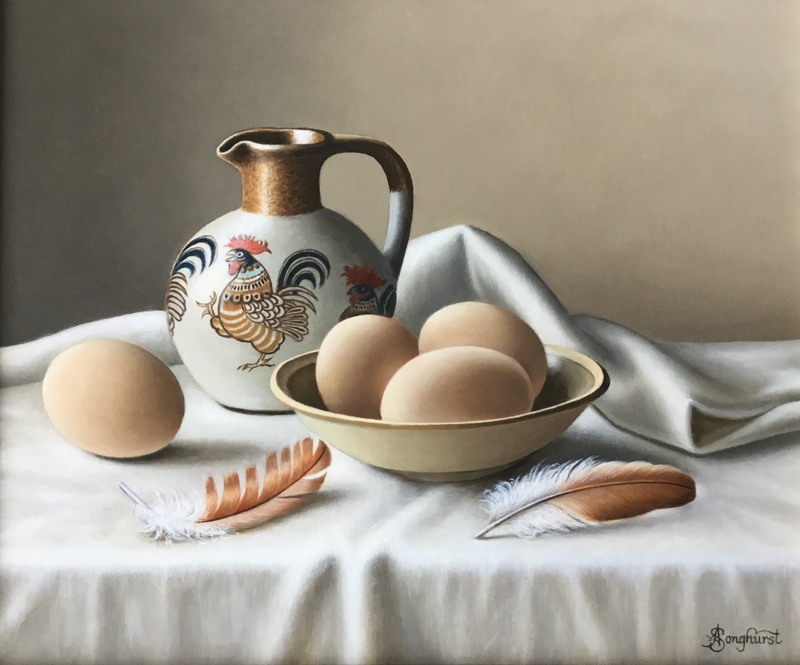 Cockerel Jug with Eggs 10x12 by Anne Songhurst