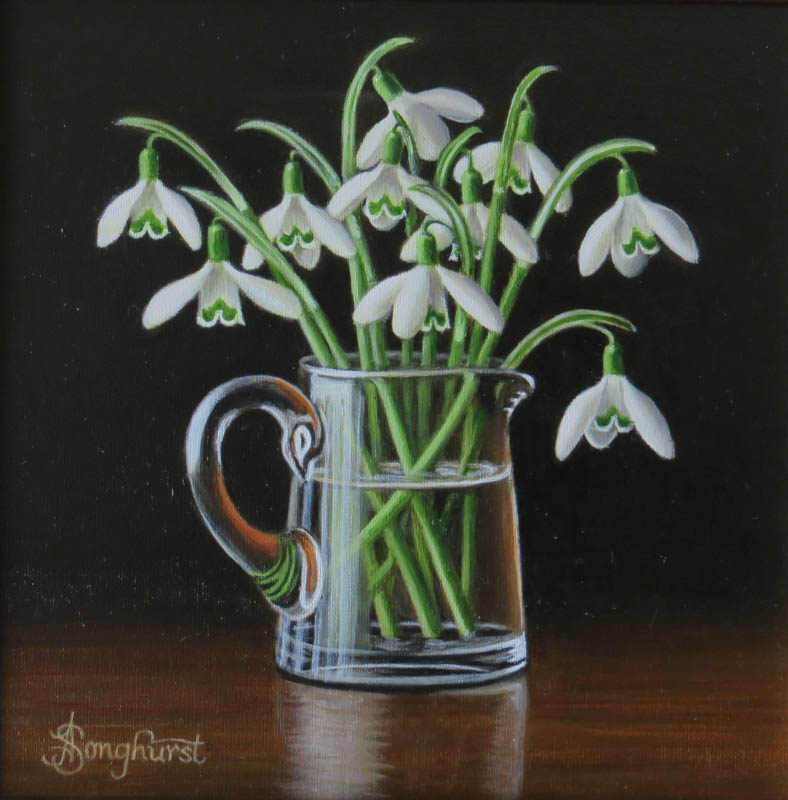 Glass Jug with Snowdrops 8x8 by Anne Songhurst