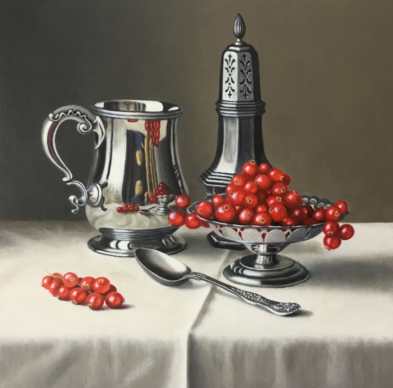 Redcurrants and Silverware 12x12 by Anne Songhurst