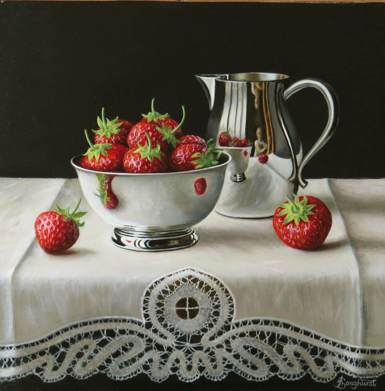 Silver Jug and Strawberries 10x10 by Anne Songhurst