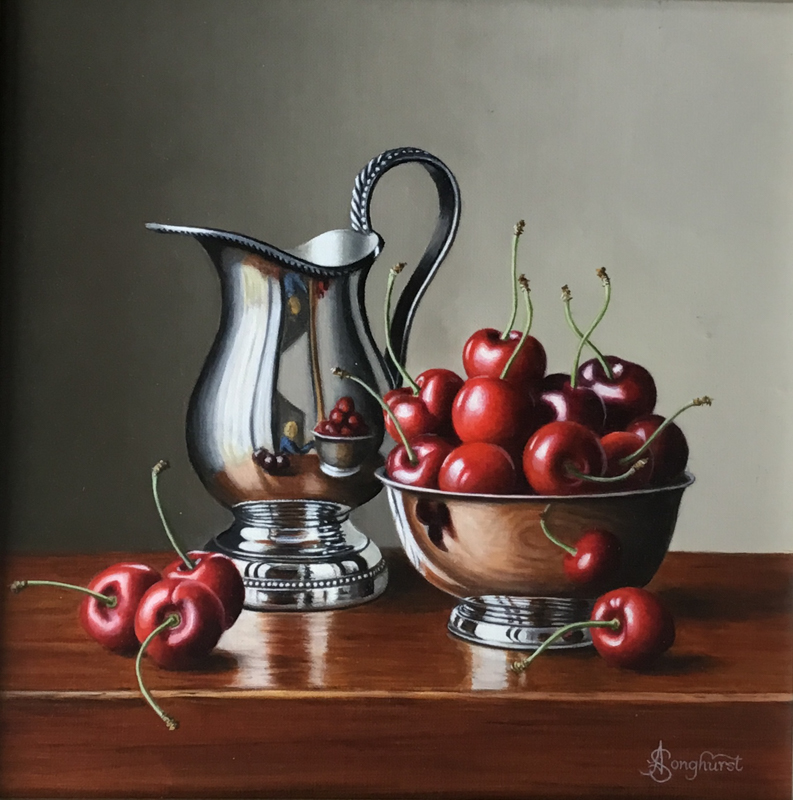 Silver Jug with Cherries 10x10 by Anne Songhurst