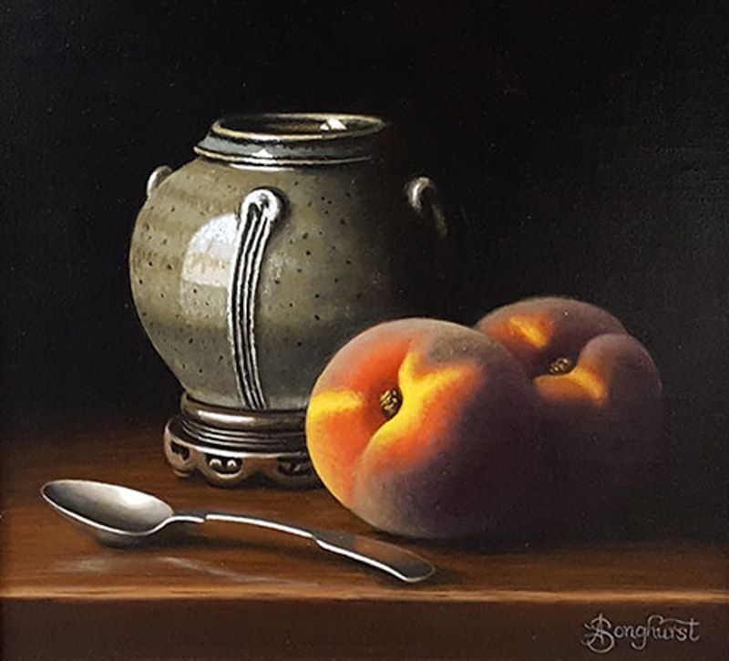 Stoneware Jar with Peaches 8x8 by Anne Songhurst