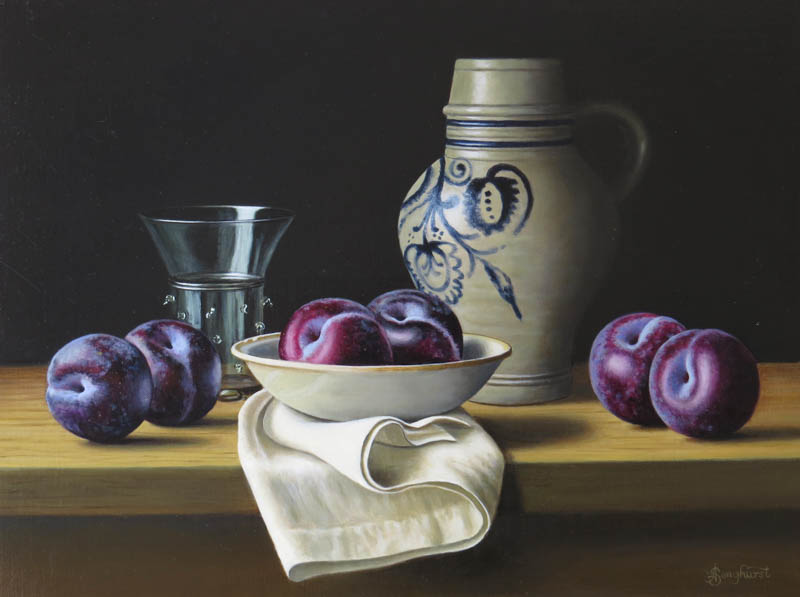Westerwald Jug with Plums 12x16 by Anne Songhurst