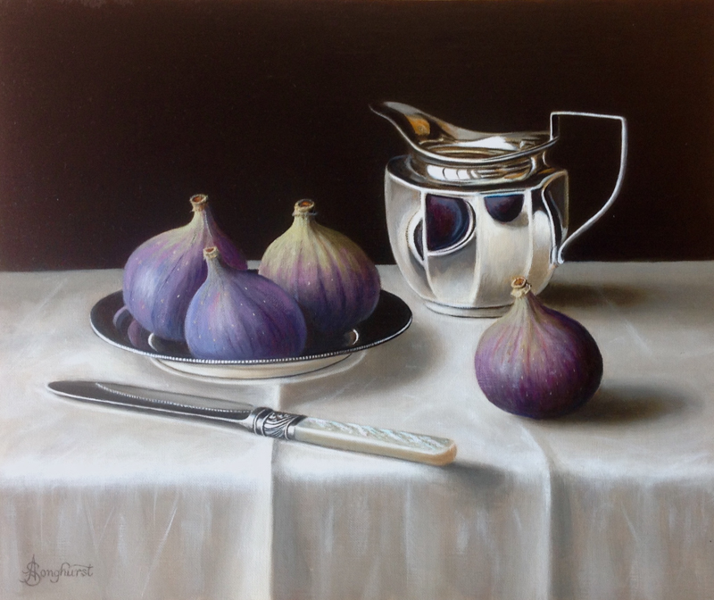 Figs on a Silver Plate 10x12 by Anne Songhurst