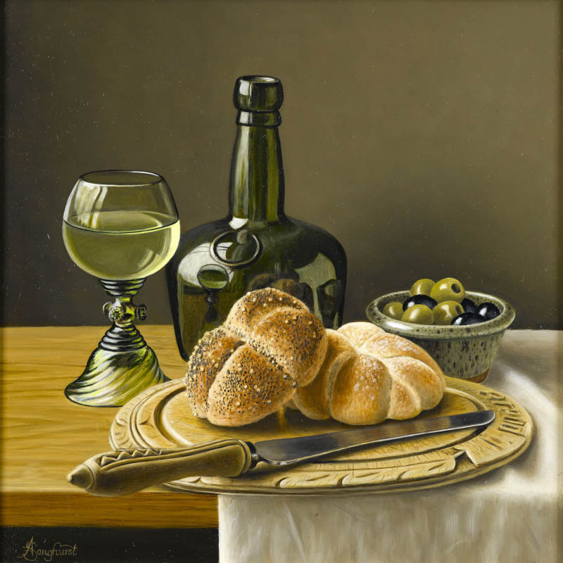 Bread and Olives 12x12 by Anne Songhurst