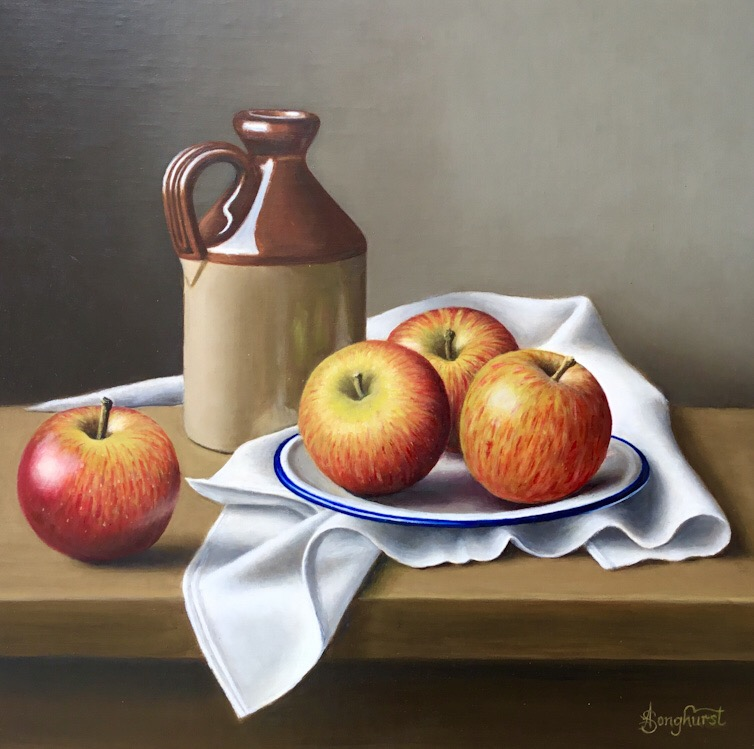 Stoneware Flagon with Apples by Anne Songhurst