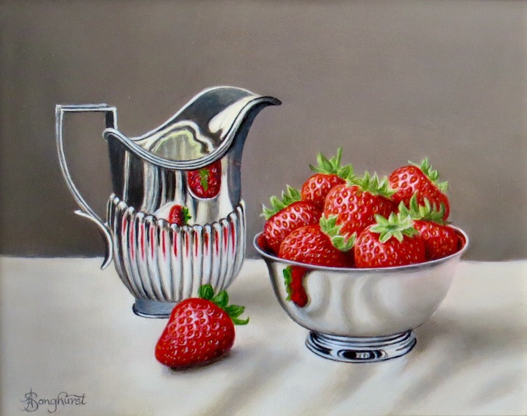 Strawberries in a Silver Bowl